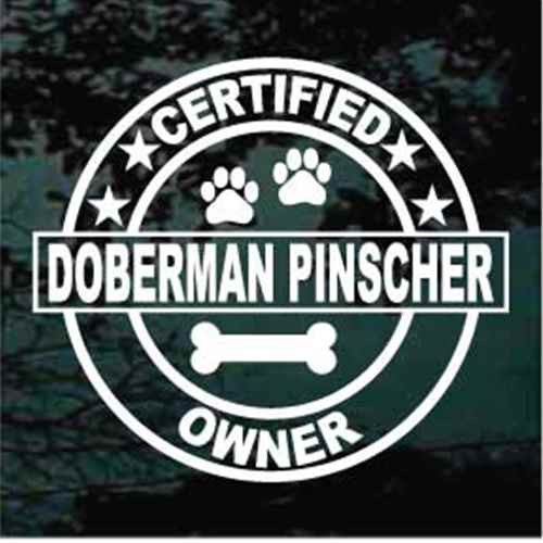 Certified Doberman Pinscher Owner Window Decal