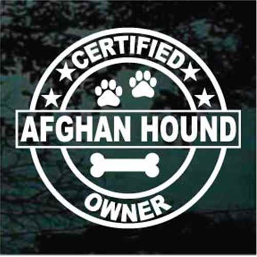 Certified Afghan Hound Dog Owner Window Decals