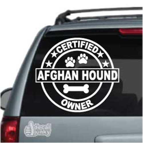 Certified Afghan Hound Dog Owner Car Window Decal