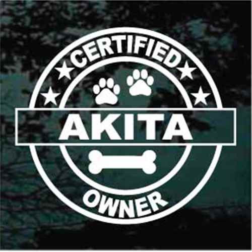 Certified Akita Owner Window Decal