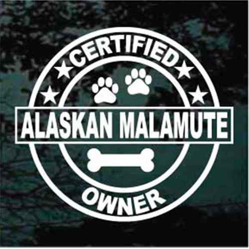 Certified Alaskan Malamute Owner Window Decal