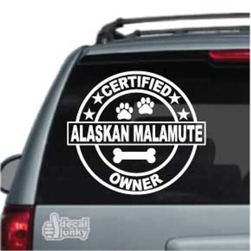 Certified Alaskan Malamute Owner Car Decal