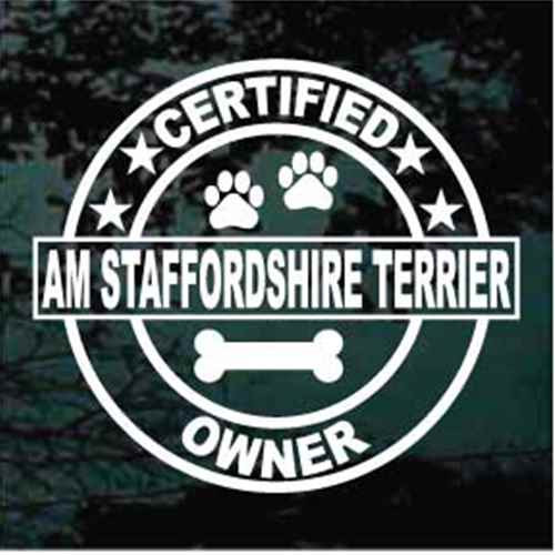 Certified Am Staffordshire Terrier Owner Decal