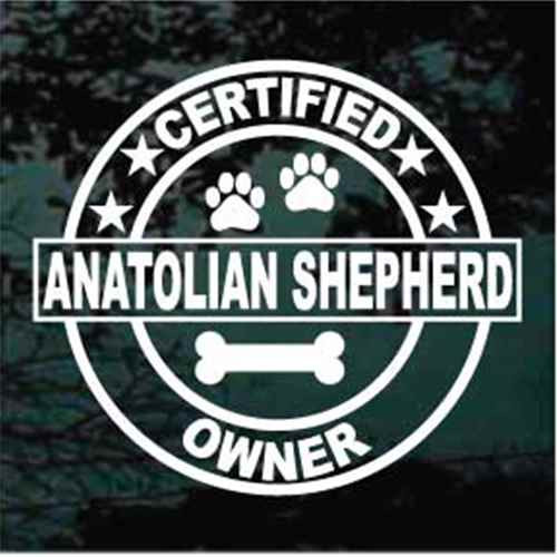Certified Anatolian Shepherd Owner Window Decal