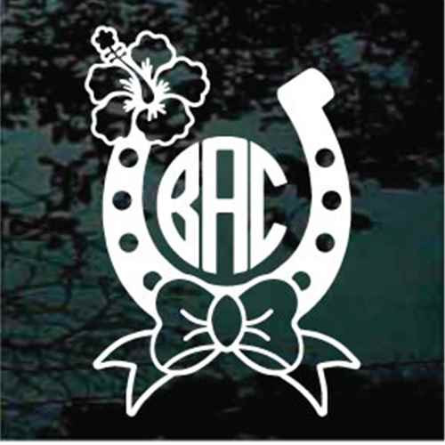 Bow Hibiscus Horseshoe Monogram