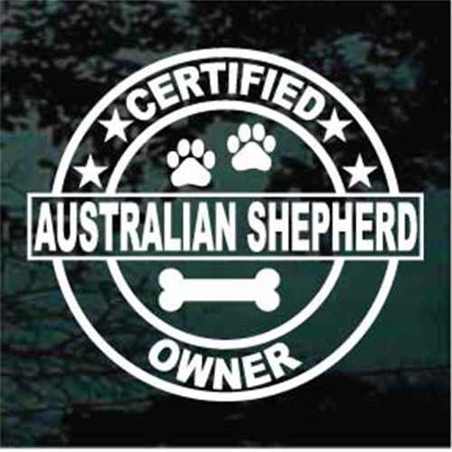 Certified Australian Shepherd Owner Window Decal