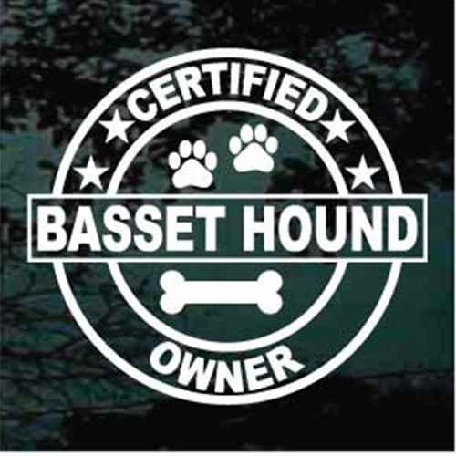 Certified Basset Hound Owner Window Decals