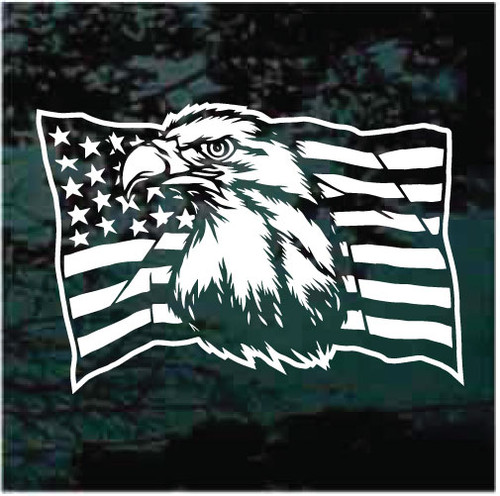 American Flag Eagle Head Window Decals
