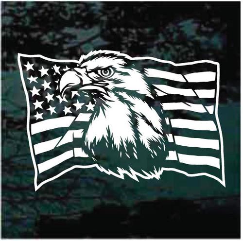 American Flag Eagle Head Window Decals