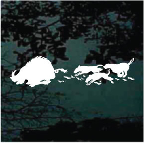 Dogs Running Hog Silhouette