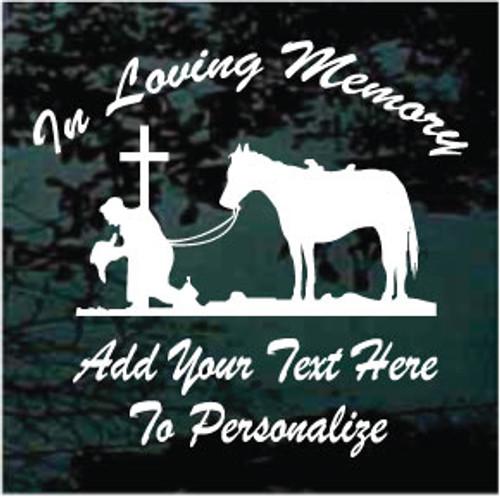 Cowboy Kneeling At The Cross Memorial Decals
