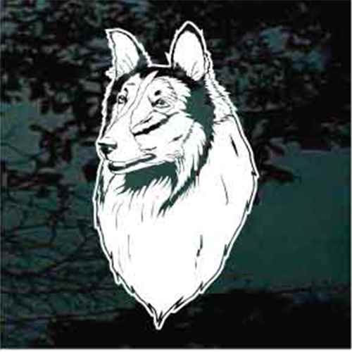 Realistic Collie Head Window Decal