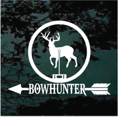 Bow Hunter Deer In Scope Window Decals