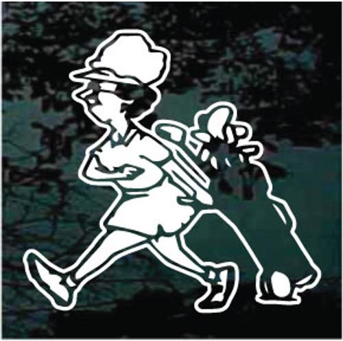 Lady Golfer Cartoon Decals