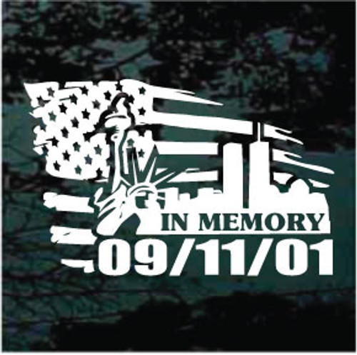 In Memory of 911 American Flag Window Decals