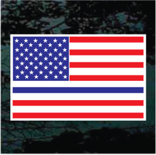 Thin Blue Line American Flag Window Decals
