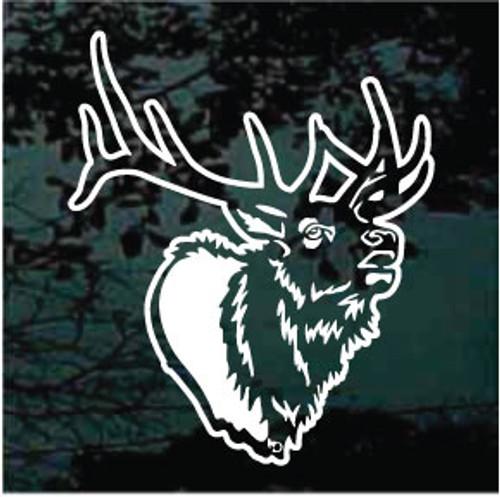Detailed Elk Head Window Decals