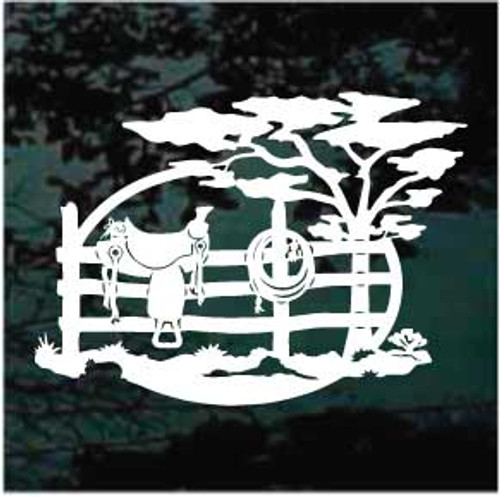 Saddle & Rope On Fence Window Decals