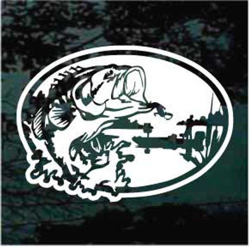 Bass Fishing Scene Oval Decals