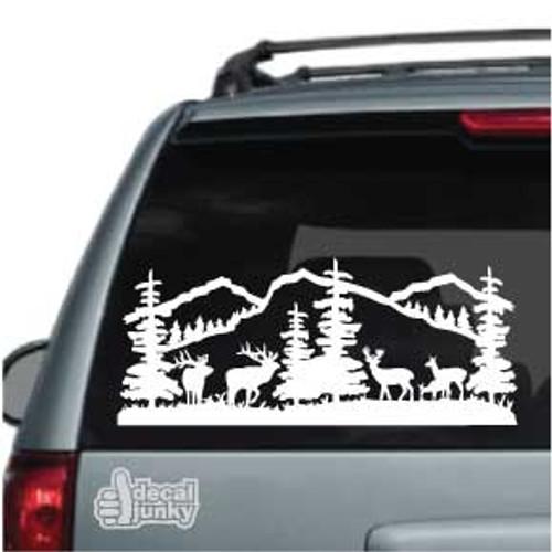 Deer Mountain Scene Car Decal