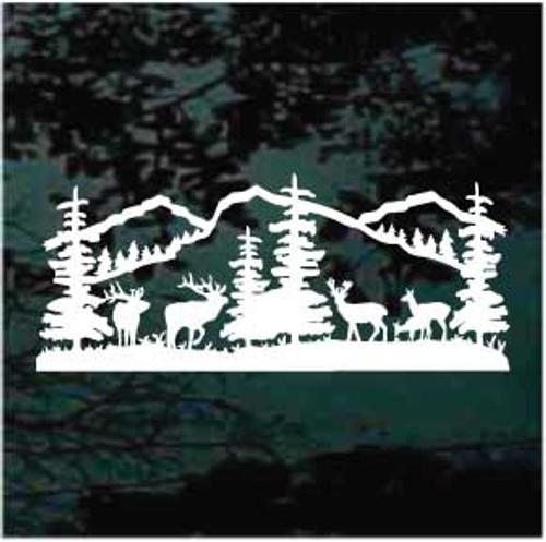 Deer Mountain Scene Window Decal