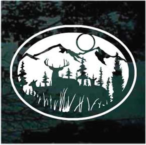 Deer Mountain Scene Oval Window Decal