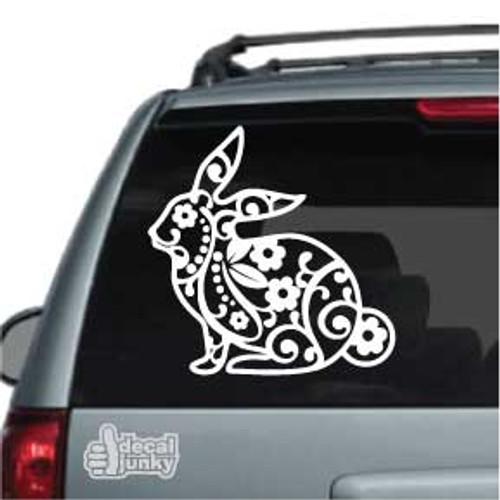 Flower Rabbit Decoration Car Window Decals