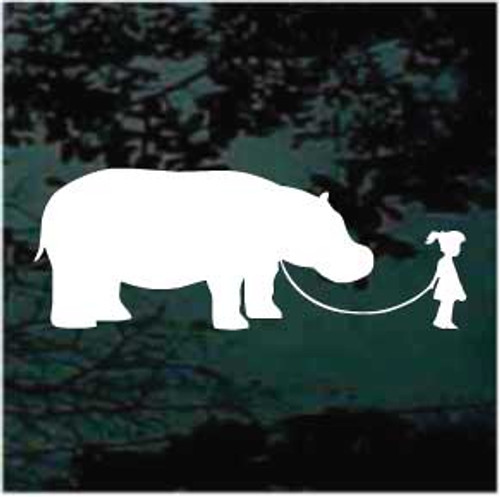 Cute Girl Walking Hippo Decal