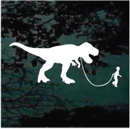 Boy Walking Dinosaur Window Decals
