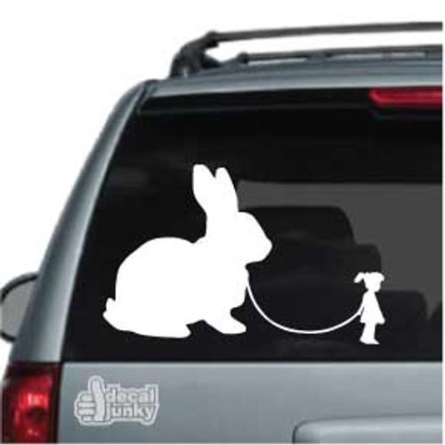 Cute Girl Walking Rabbit Car Window Decals
