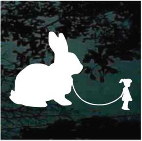 Cute Girl Walking Rabbit Decals