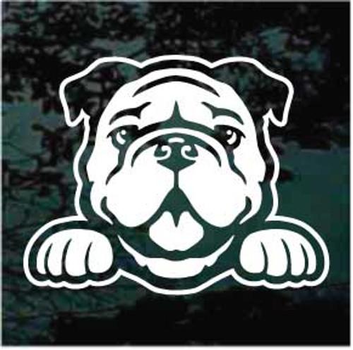 Bulldog Peeking Doggie In The Window Decals