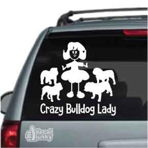 Crazy Bulldog Lady Car Decal