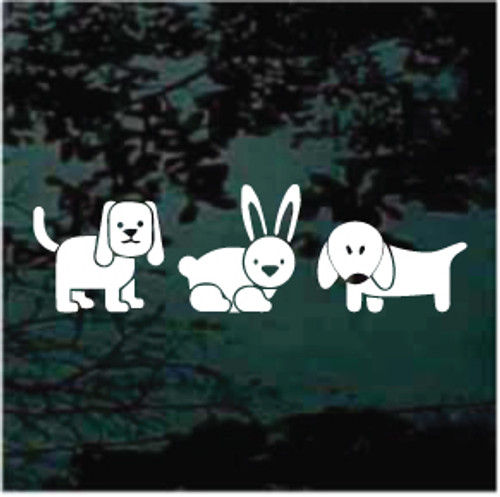 Two Dogs & Bunny Rabbit Window Decals