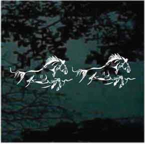 2 Horses Running Window Decal