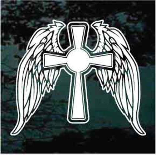 Cross with Angel Wings Window Decal