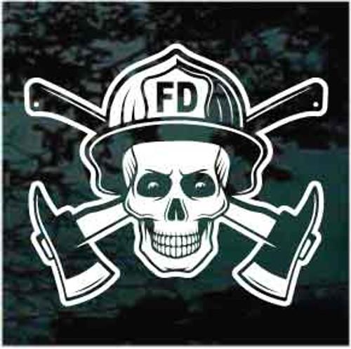 Fire Department Skull Window Decals