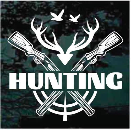 Deer Duck Hunting Guns Crossed Decals