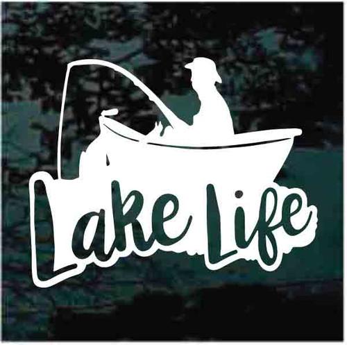 Lake Life Boat Fishing Window Decals