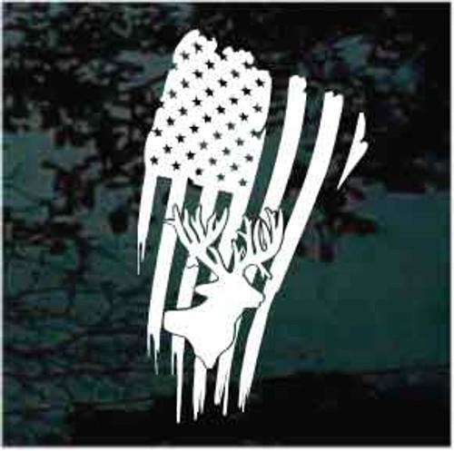American Flag Deer Head Window Decal