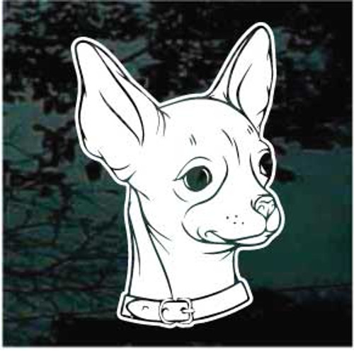 Chihuahua Head Wearing Collar Window Decal