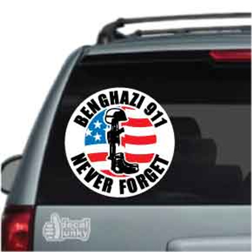911 Benghazi Never Forget Soldier M16 Car Decal
