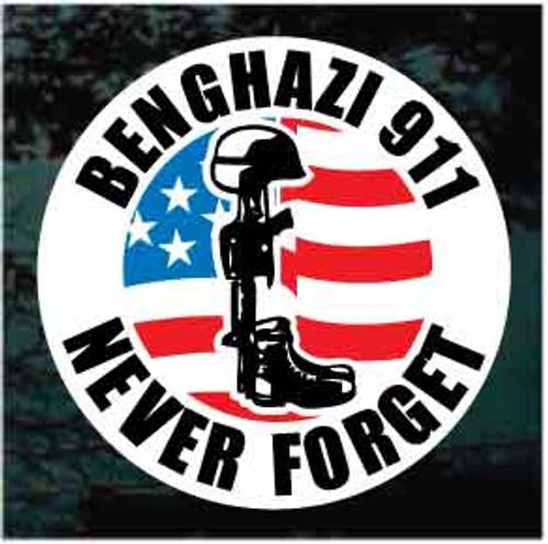 911 Benghazi Never Forget Soldier M16 Window Decals