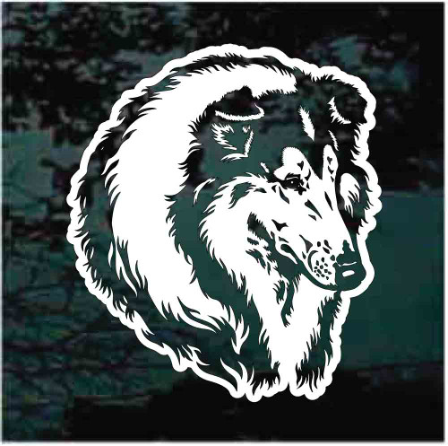 Beautiful Collie Head Window Decals