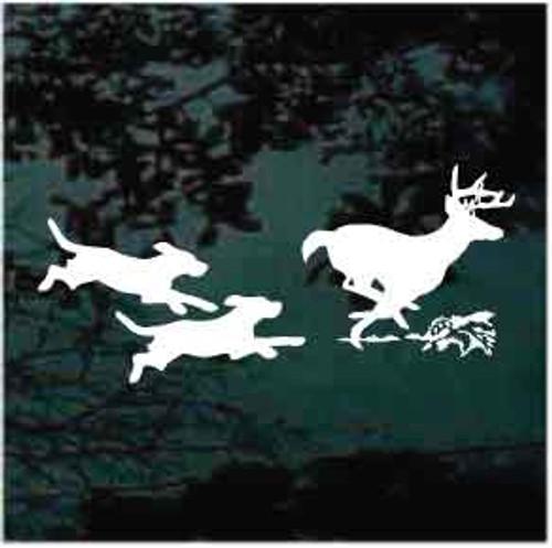 Dogs Running Deer Window Decal