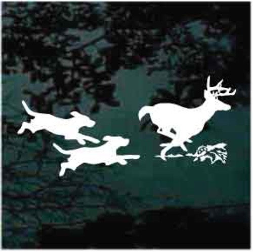 Dogs Running Deer Window Decal