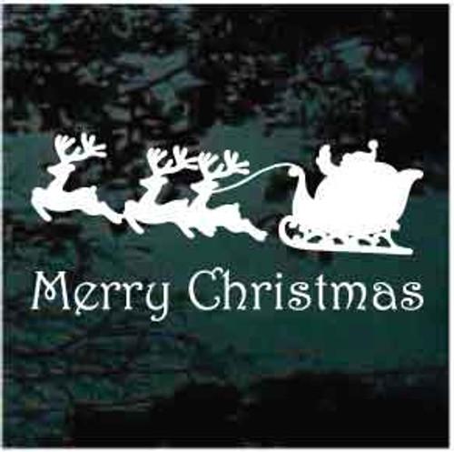 Merry Christmas Santa's Sleigh Reindeer Window Decal