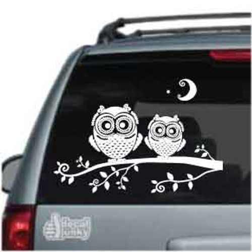 Cute Owls On A Branch Car Decal