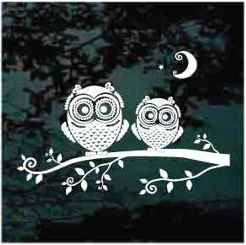 Cute Owls On A Branch Window Decal