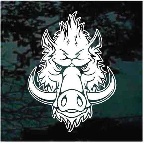 Fierce Wild Hog Head Window Decals